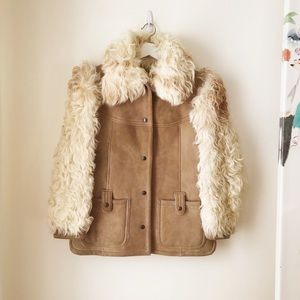 100%sheepskin coat with curly hair